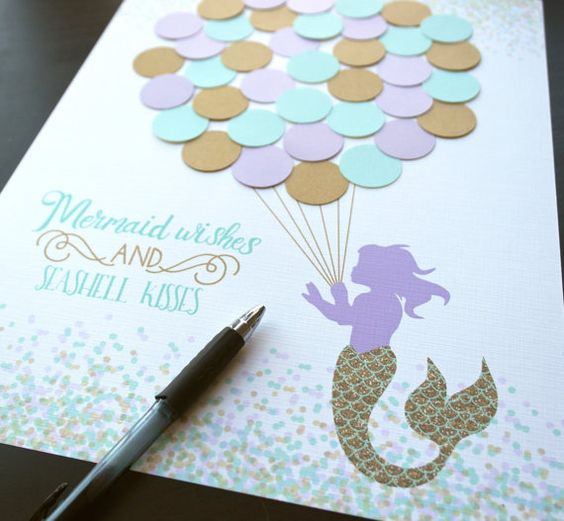Mermaid Baby Shower Decor Aqua Mermaid Shower Decorations Teal and Purple Baby Shower Mermaid Birthday Party Guestbook Shower Guest Book