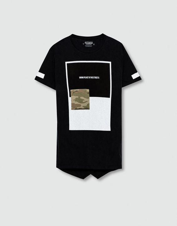 Pull&Bear - homem - blusas - t-shirt camuflagem estampado texto - cinza…