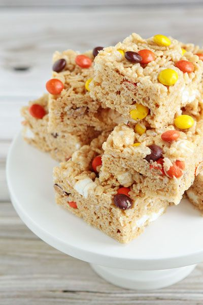 Peanut butter rice krispie treats with Reese's Pieces :)