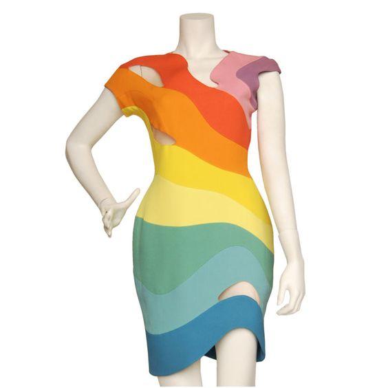 Thierry Mugler Spring/Summer 1990 Rainbow Dress