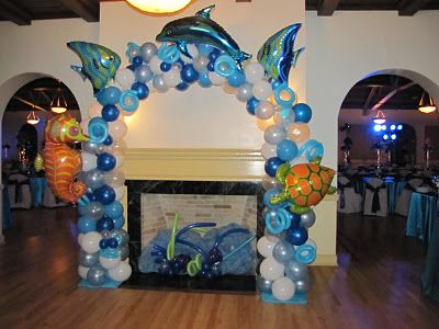 Party People Celebration Company - Special Event Decor Custom Balloon decor and Fabric Designs: Under The Sea Bat Mitzvah