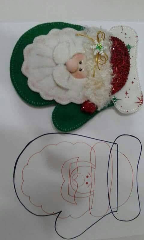 Patrones De Figuras Navideñas En Fieltro De Señor Claus Manualidades Navideñas Navideños En Fieltro Portacubiertos Navidad