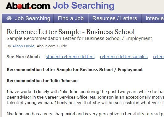 Recommendation Letter Sample for Business School Letter sample - school recommendation letter