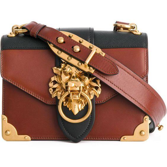 Prada Cahier lion-embellished shoulder bag (182.155 RUB) ❤ liked on Polyvore featuring bags, handbags, shoulder bags, purses, borse, prada, brown, hand bags, vintage leather purse and shoulder hand bags