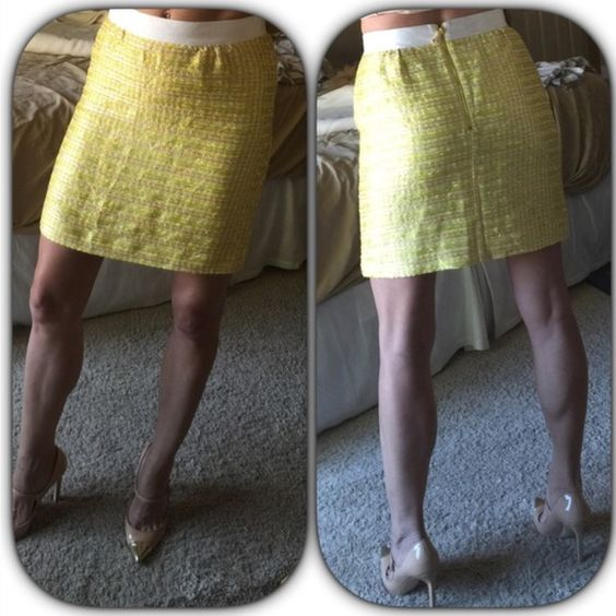 """Kate Spade♠️yellow tweed skirt Kate Spade♠️yellow tweed skirt with gorgeous cream color waistband.  Skirt is very textured as seen in 3rd photo. Exposed gold back zipper   Silk lined very soft and luxurious.  18"""" long  could fit up to size 4 waist measures 13 3/4"""" across the front. kate spade Skirts"""