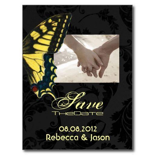modern damask Butterfly Wedding savethedate Post Card
