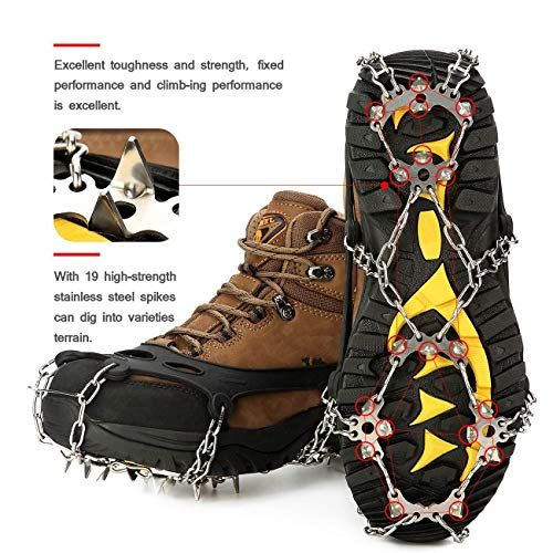 Wirezoll Crampons 24 Teeth Stainless Steel Ice Cleats Fit Boots And Shoes Safe Protect For Boots Ice Cleats Climbing Shoes