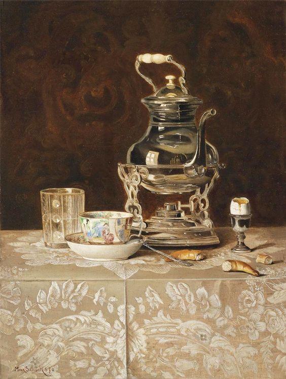 Austrian painter Max Schodl (1834 - 1921). Still Life with a Silver Teapot