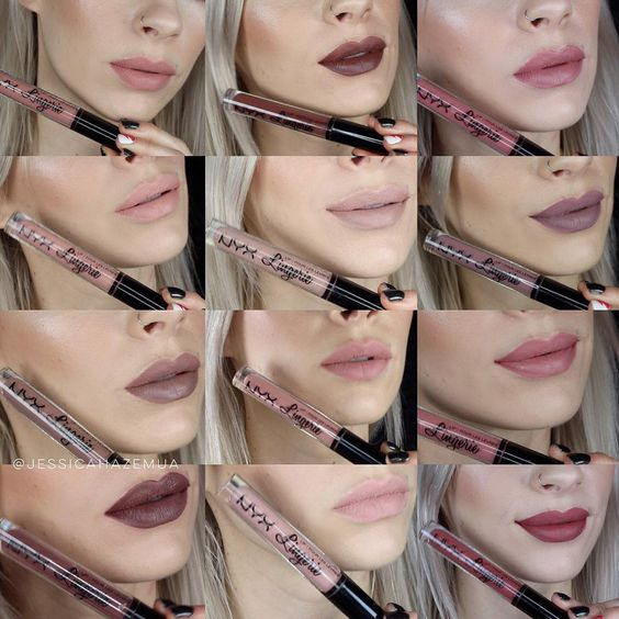 "jessica haze makeup artist on Instagram: ""N00Dz...  All 12 of the new @nyxcosmetics Lingerie Liquid to Matte lipsticks are swatched and reviewed on my YouTube channel! I'll pop the link in the bio ❤️"""