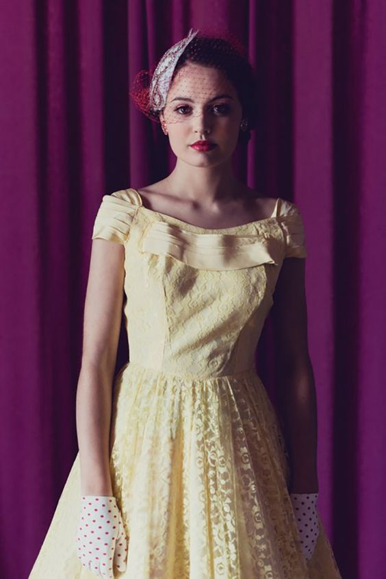 Fabulous yellow vintage bridesmaid dress from Dirty Fabulous shot by White Tea ~ www.onefabday.com