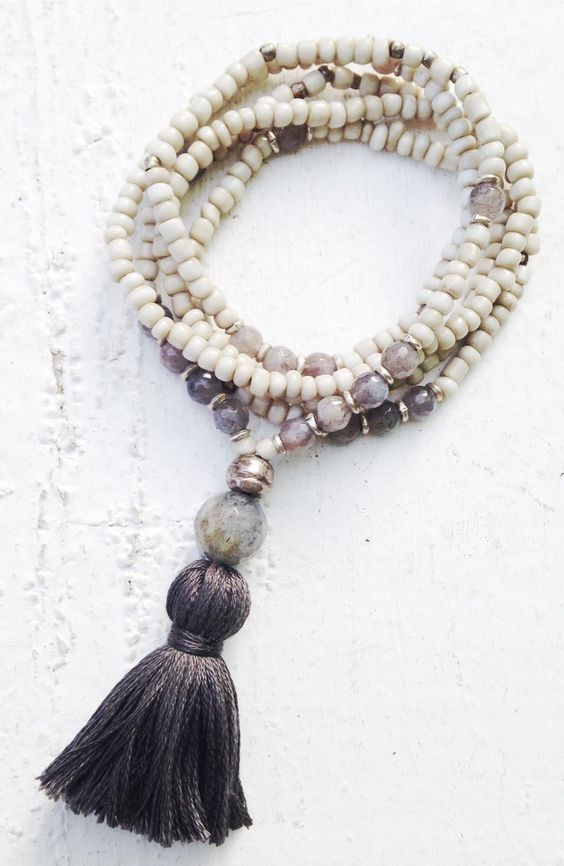 Image of Love Bead Necklace - Soft Cream Beads, Labradorite Accents, Tassel #100119