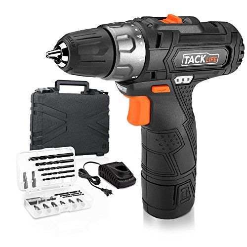 Tacklife Pcd02b 12v Lithium Ion Cordless Drill Driver 3 8 Inch Chuck Max Torque 220 In Lbs 2 Speed 1 Hour Fast Charger 19 1 Position With Led 17pcs Drill Dr Drill Driver Cordless Drill Cordless Drill Reviews