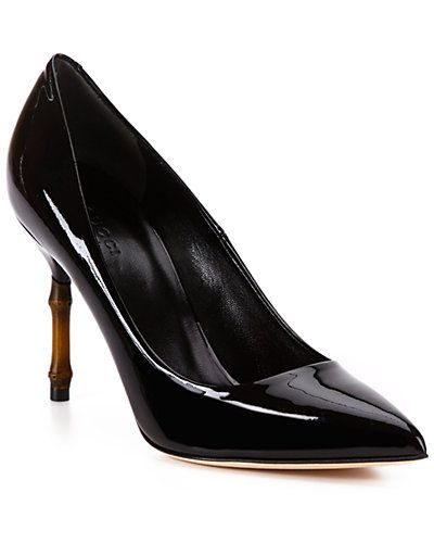 "Some of you have to get in on this: Gucci ""Kristen"" Patent Bamboo High-Heel Pointy-Toe Pump"