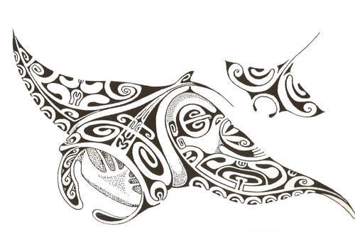 Modèle tatouage raie manta