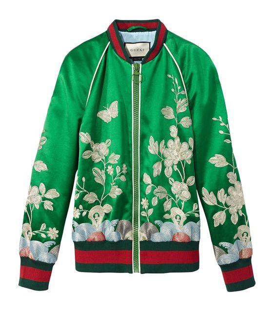 Gucci Silk Floral Bomber Jacket: