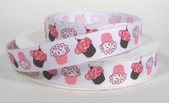 7/8 Cupcake Printed Grosgrain Ribbon Clearance by RibbonStation