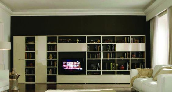 Logo 203 Wall Unit with Bookcase System by Sangiacomo, Italy has mat lacquered Canapa bookcase , bases gloss lacquered Canapa, sliding doors in lacquered Canapa glass Manufactured By San Giacomo.