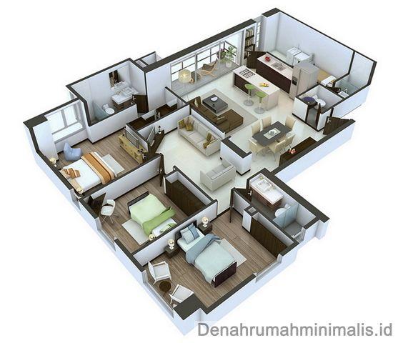 Denah Rumah Minimalis Sempit 3d 1 Lantai 3 Kamar Tidur 3d House Plans Small House Plans Design Your Dream House
