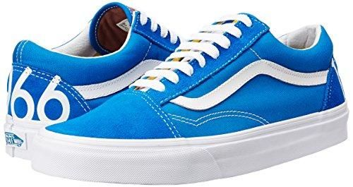 This Updated Version Of The Iconic Vans Old Skool Sneakers Features A Low Profile Blue White Red Canvas Upper And Cushione Vans Old Skool Sneaker Sneakers Vans