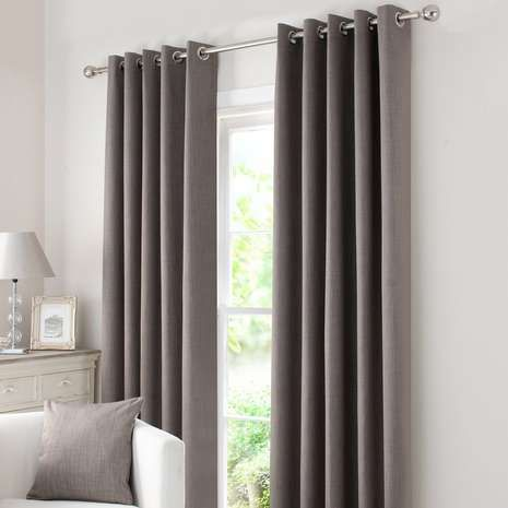 Designed In A Sophisticated Stone Grey Tone These Ready Made Eyelet Curtains Offer A Smooth