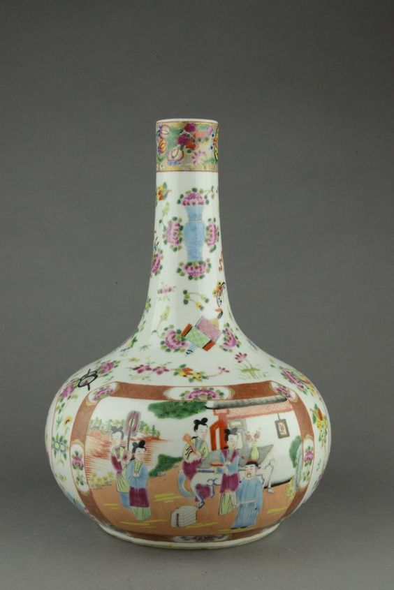 Chinese Famille Rose porcelain vase, of flattened globular form with slender neck, richly painted with court scenes in rectangular panels against peonies sprigs. H: 30 cm, D: 19 cm, 1780 grams.