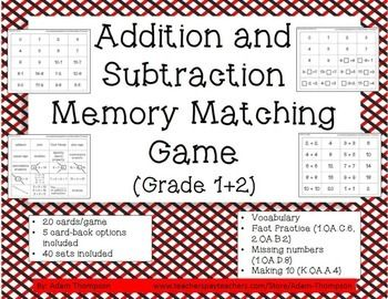 Addition and Subtraction Games: Memory Matching (Grade 1+2 ...