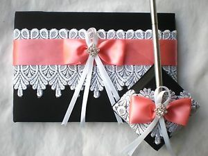 White-Lace-Black-Coral-Wedding-Guest-Book-Pen-Set