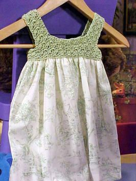Free pattern for crochet top and fabric bottom dress
