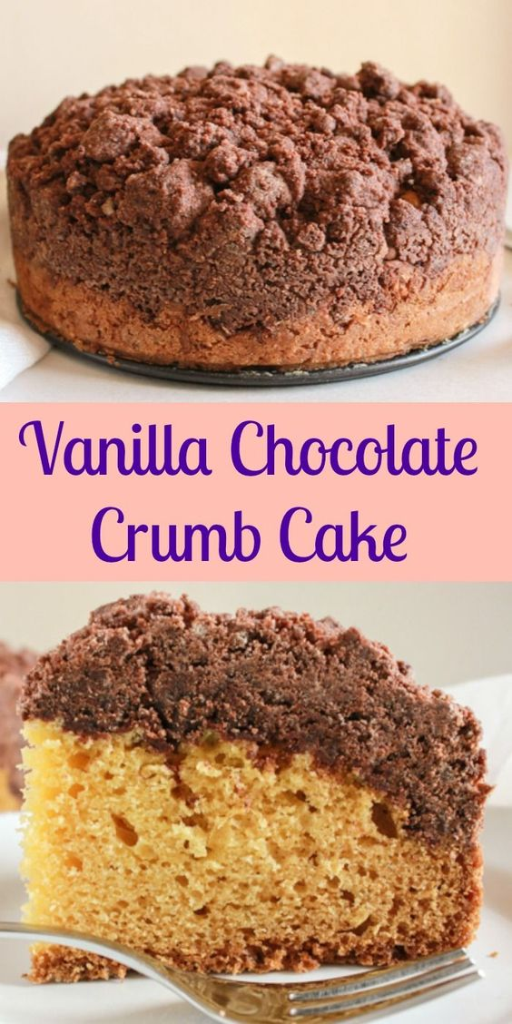 Vanilla Chocolate Crumb Cake, an easy New York style crumb cake recipe, a delicious double layer cake made with greek yogurt.  A must try.|anitalianinmykitchen.com