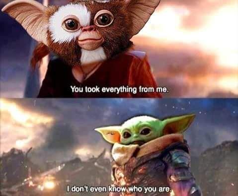 Gremlins Crossover Babyyoda In 2021 Funny Star Wars Memes Star Wars Memes Star Wars Humor