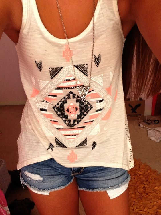 Peach black and white Tribal/ aztec shirt with shorts and necklace