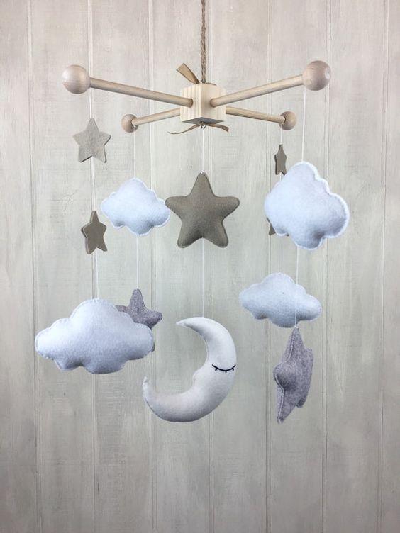 Estrella de móvil estrella de la luna y nube por littleHooters