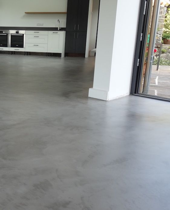 Light Grey Kitchen Floor Finished In Micro Cement Topping