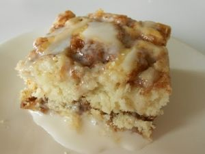 Cinnamon Roll Cake  Ingredients:  3 C flour  1/4 t salt  1 c sugar 4 t baking powder  1 1/2 c milk 2 eggs 2 t vanilla  4 T butter, melted 1 by leola