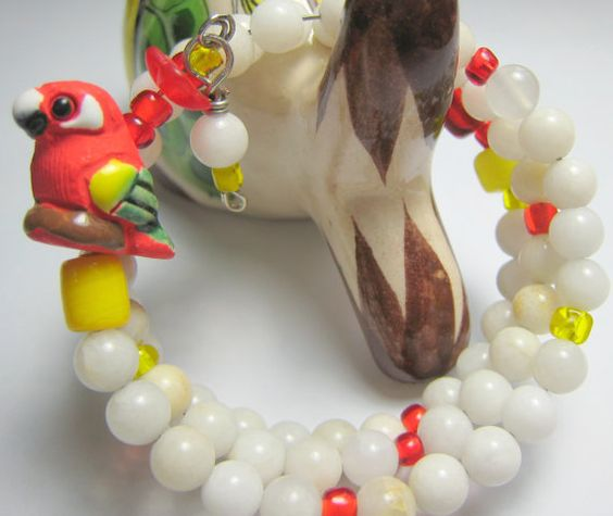 Ceramic Red and Yellow Parrot Weight Watchers by GinnyRiggle, $22.00