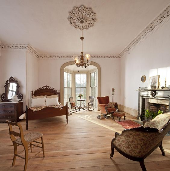 Historic Preservation Interiors | one of the second floor bedrooms in the farmhouse at