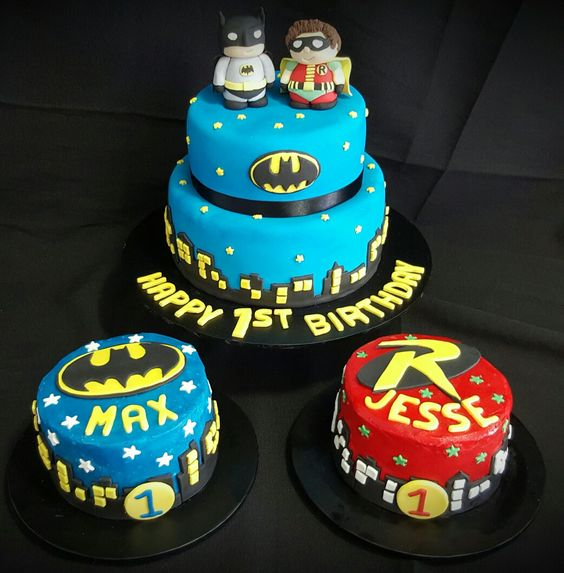 Batman and Robin - 1st birthday cake and smash cakes for twin boys. June 2016