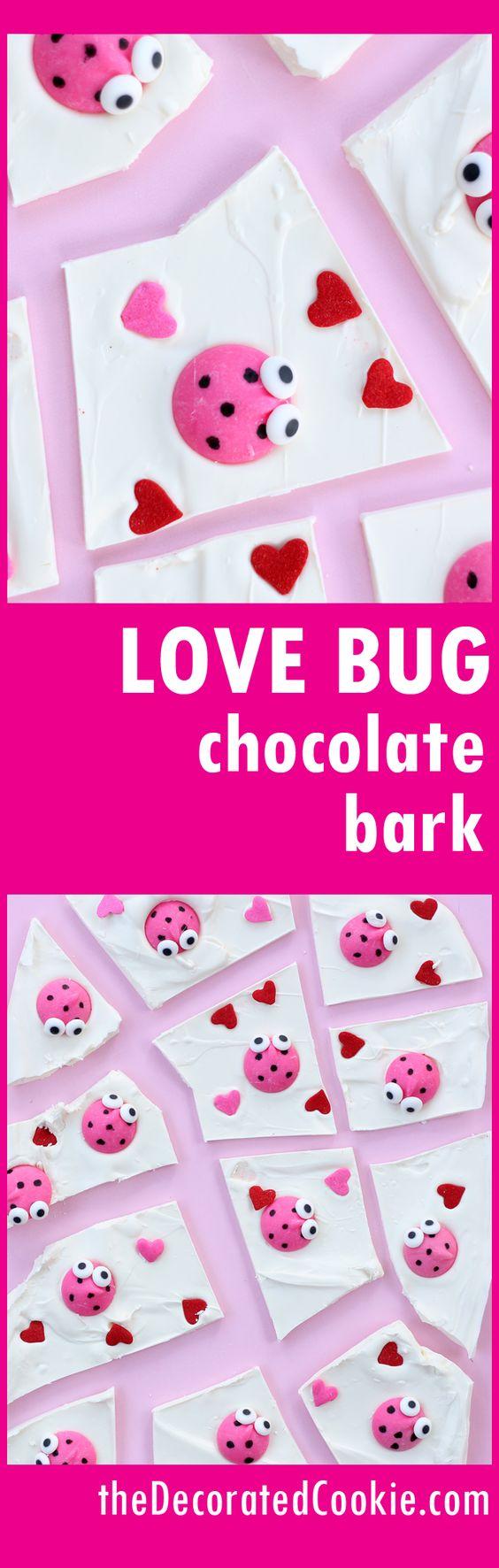 love bug chocolate bark for an easy Valentine's Day treat