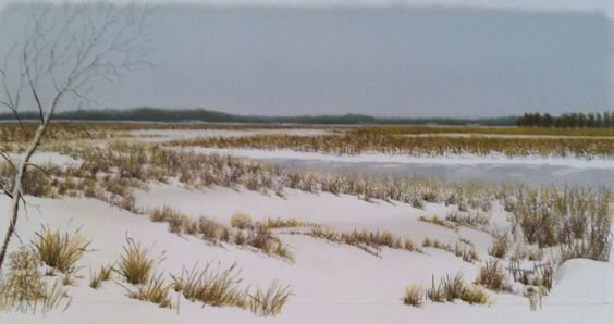 Winter at Dyke Marsh, pastel on rag board.