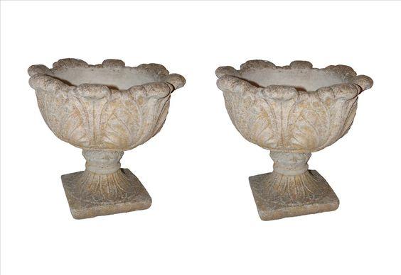 "Pair of stone garden urns Inv.#:RRA-DB0850Height:17"" Origin:FranceWidth:19"""