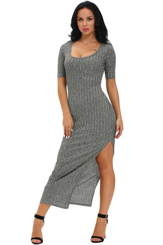 Robes Maxi Jersey Charcoal Dusty Strie Manches Demi MB61250-11 – Modebuy.com