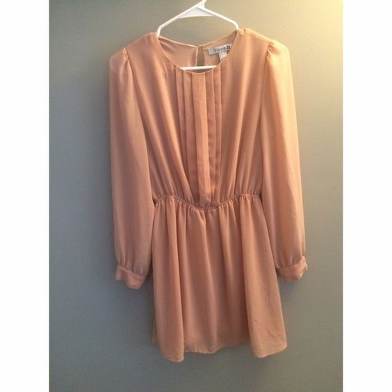 NWOT long sleeves blush dress Never ever worn! Very cute. I kept the belt from it but it has two small belt loops on the sides. Would be super cute with tights and boots for fall or flats for spring. Dresses
