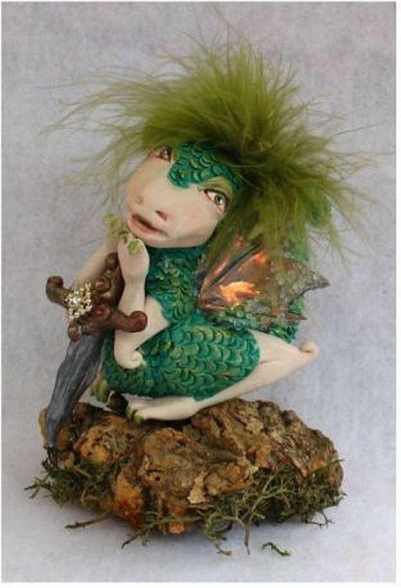 Green OOAK Fairy Dragon with Sword Fairies Art by britpoprose99, $39.99