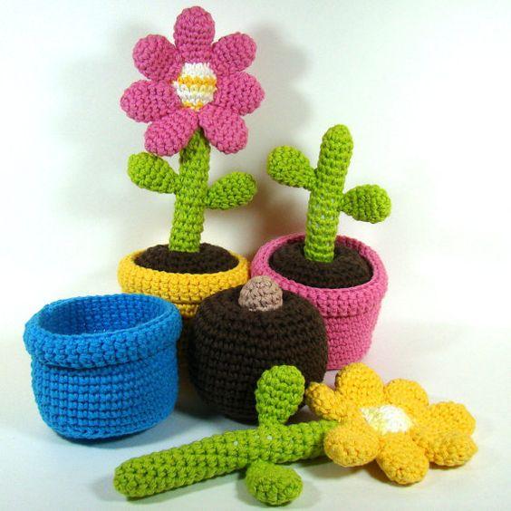 Amigurumi Flower : Gardens growing and toys on pinterest