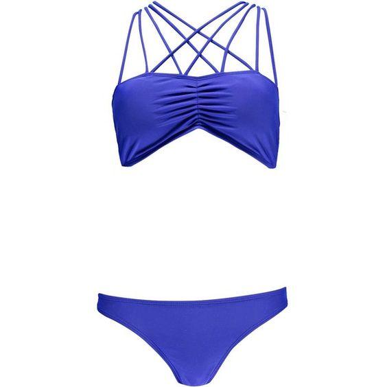 Boohoo Lorient Criss Cross Halter Neck Bikini ($30) ❤ liked on Polyvore featuring swimwear, bikinis, bikini swimwear, two piece swimwear, bandeau bikini, triangle bikini and beach bikini