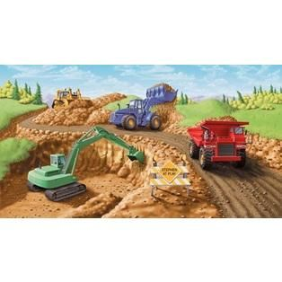 Large Construction Site Mural - Red Truck on Left Wall Mural- Kidding Around