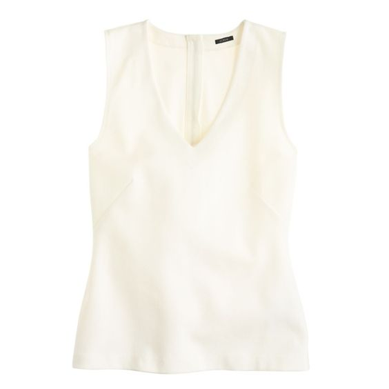 J. Crew White Structured V-Neck Shell Made from our stretchy holds-you-in knit ponte cotton (the same fabric we use for our Pixie pant), it's the perfect mix of sleek and structure. Cotton/nylon. Machine wash. No trades or pp. J. Crew Tops