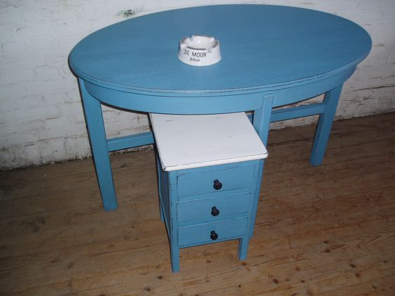 Small kitchen table and drawer painted in blue  Brocante painted by
