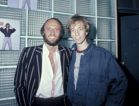 Maurice Gibb and Robin Gibb during Launch of Robin Gibb's 2nd Solo Album 'Secret Agent' at Bebop Cafe in New York City, New York, United States. June 18, 1984