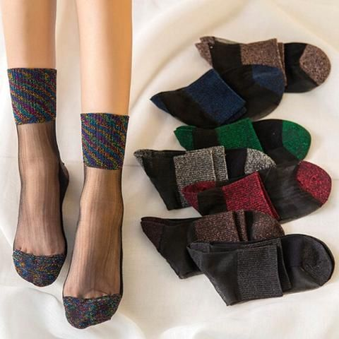 Wholesale Women/'s Ankle Socks Ultrathin Transparent Beautiful Crystal Lace Sock